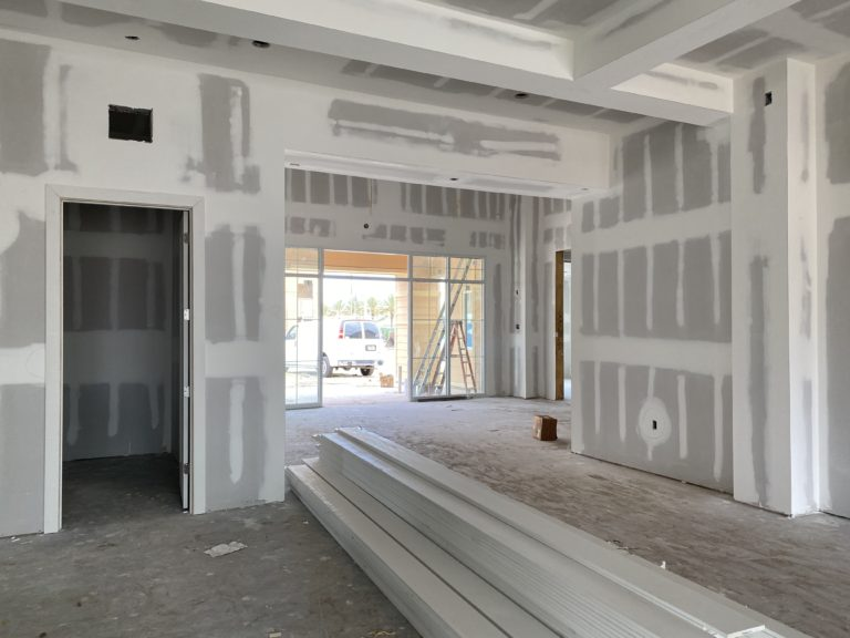 Construction progress of interior clubhouse