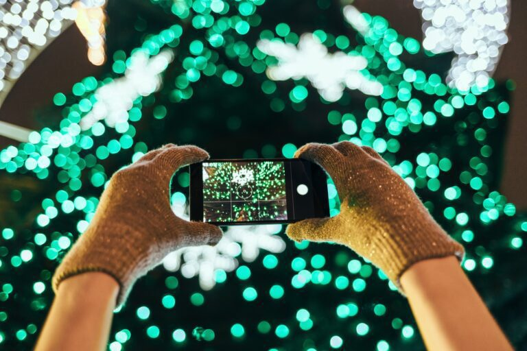 Christmas Lights, Gloves, iPhone, Camera, Taking Picture