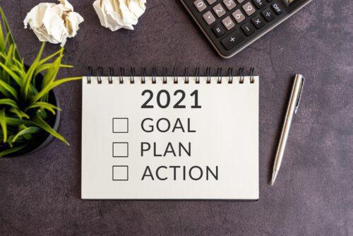 2021, Goal, Plan, Action, notepad, Plant, Pencil