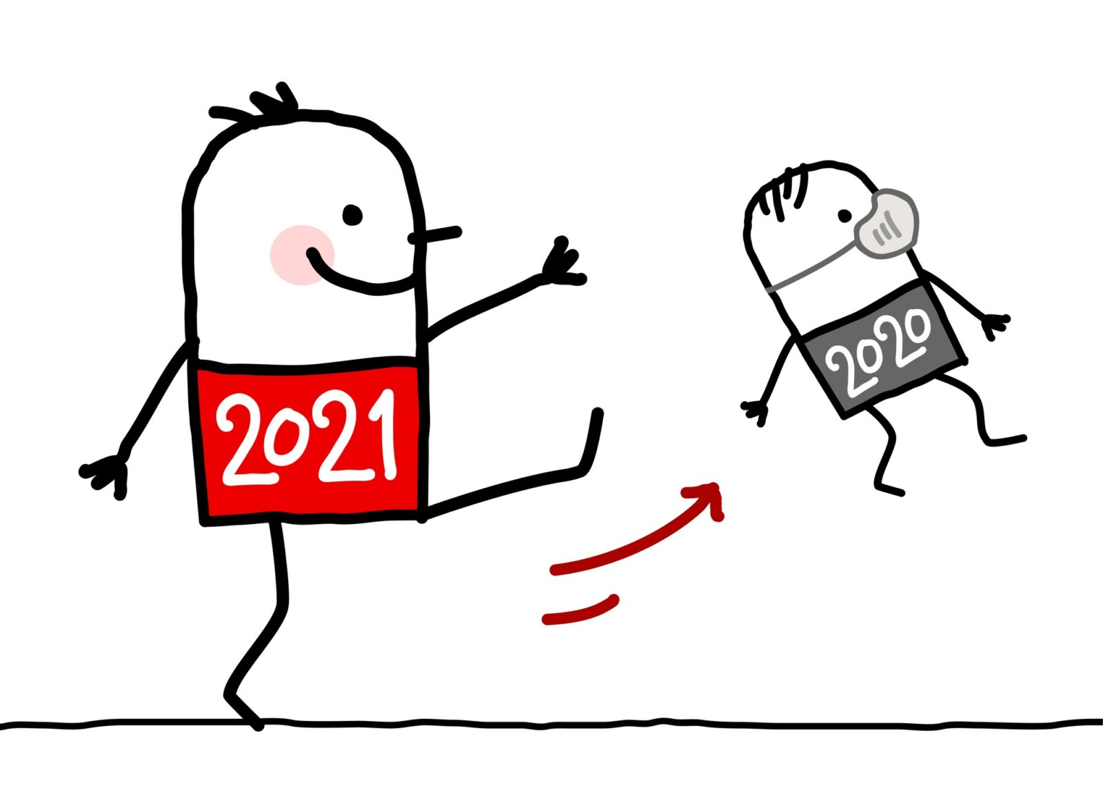 cartoon figure 2021 kicking cartoon figure 2020 with mask