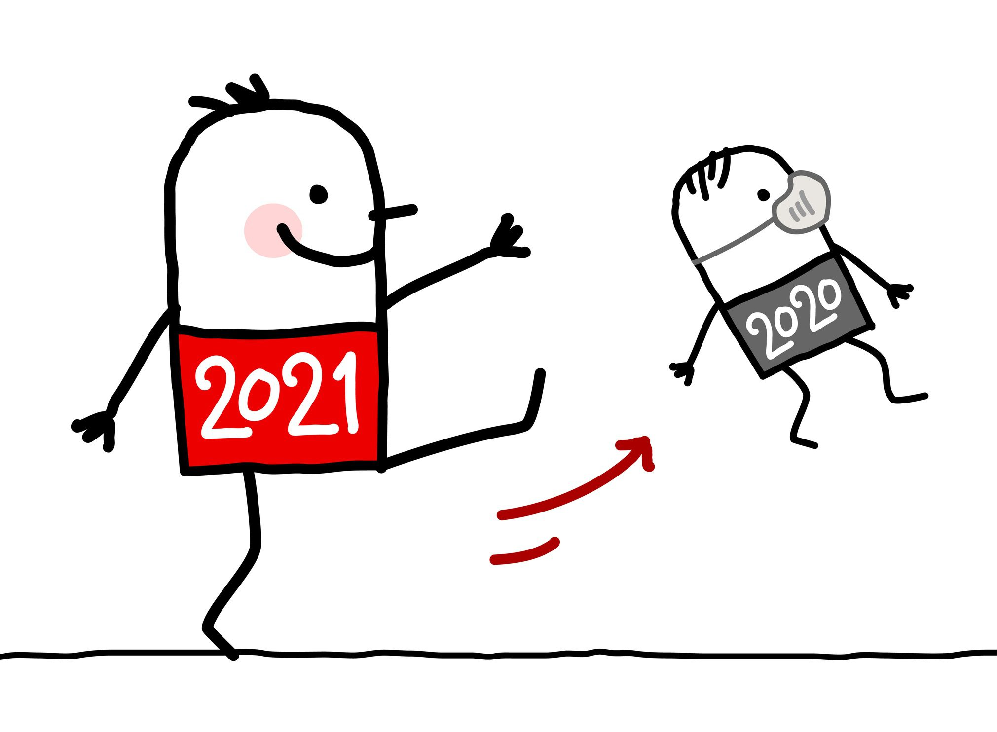 cartoon figure 2021 kicking cartoon figure 2020 with mask