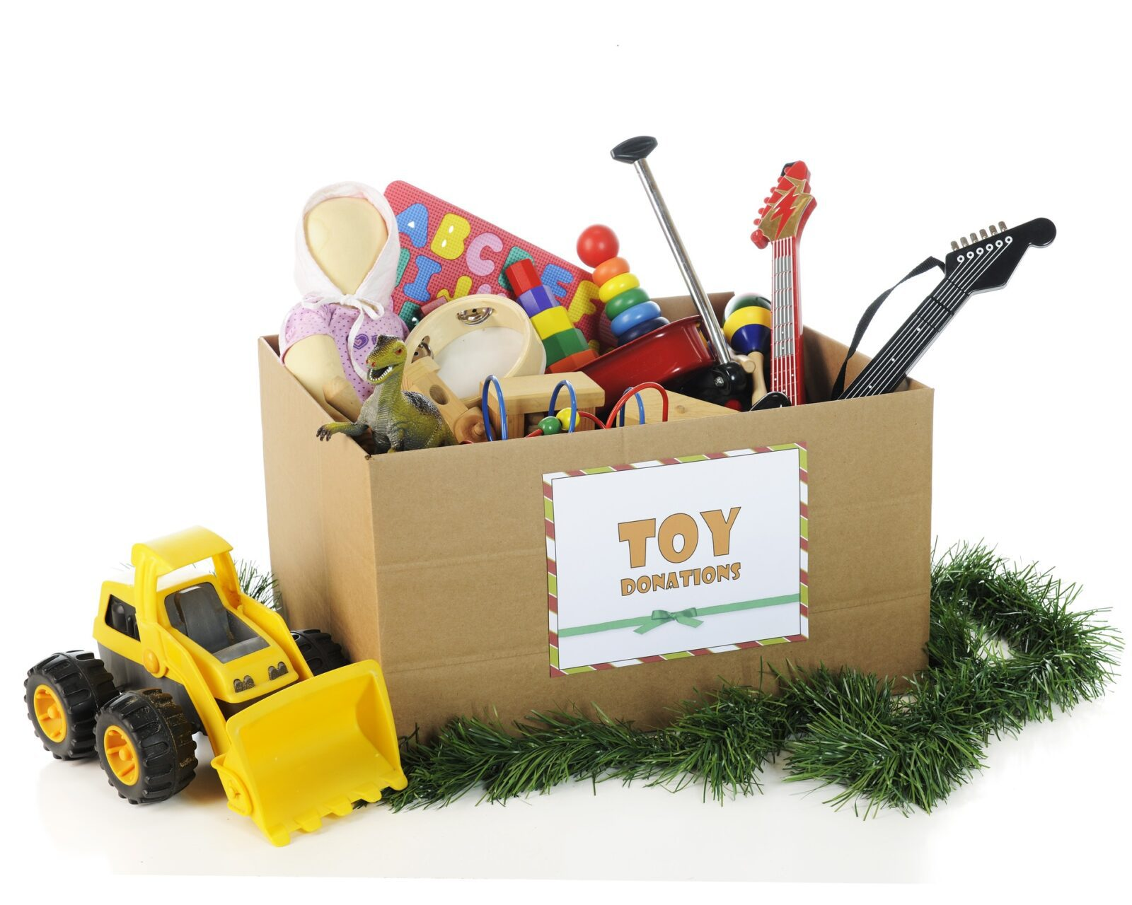 Toys for Tots, Toys in Donation Box, Toy Truck, Toy Guitar, Toy Wagon, Doll, Christmas Donations