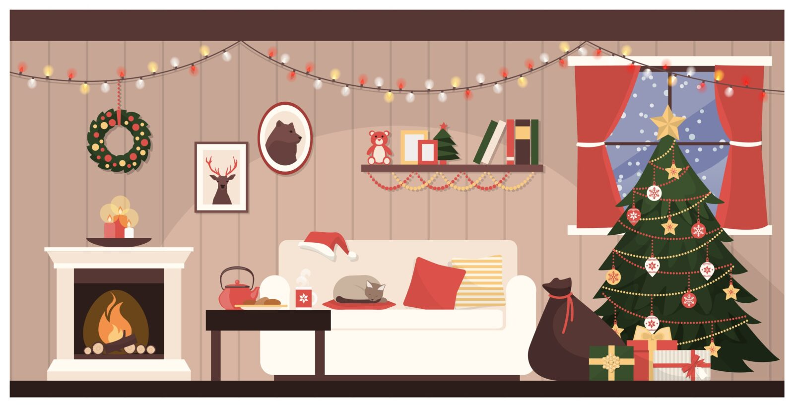 Christmas decorations, fireplace, Christmas Tree, Lights, Couch, Bag of Toys, Christmas wreath