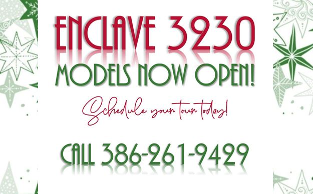 Enclave 3230, Christmas stars, Models now open, Schedule Tour, Call 3862619429