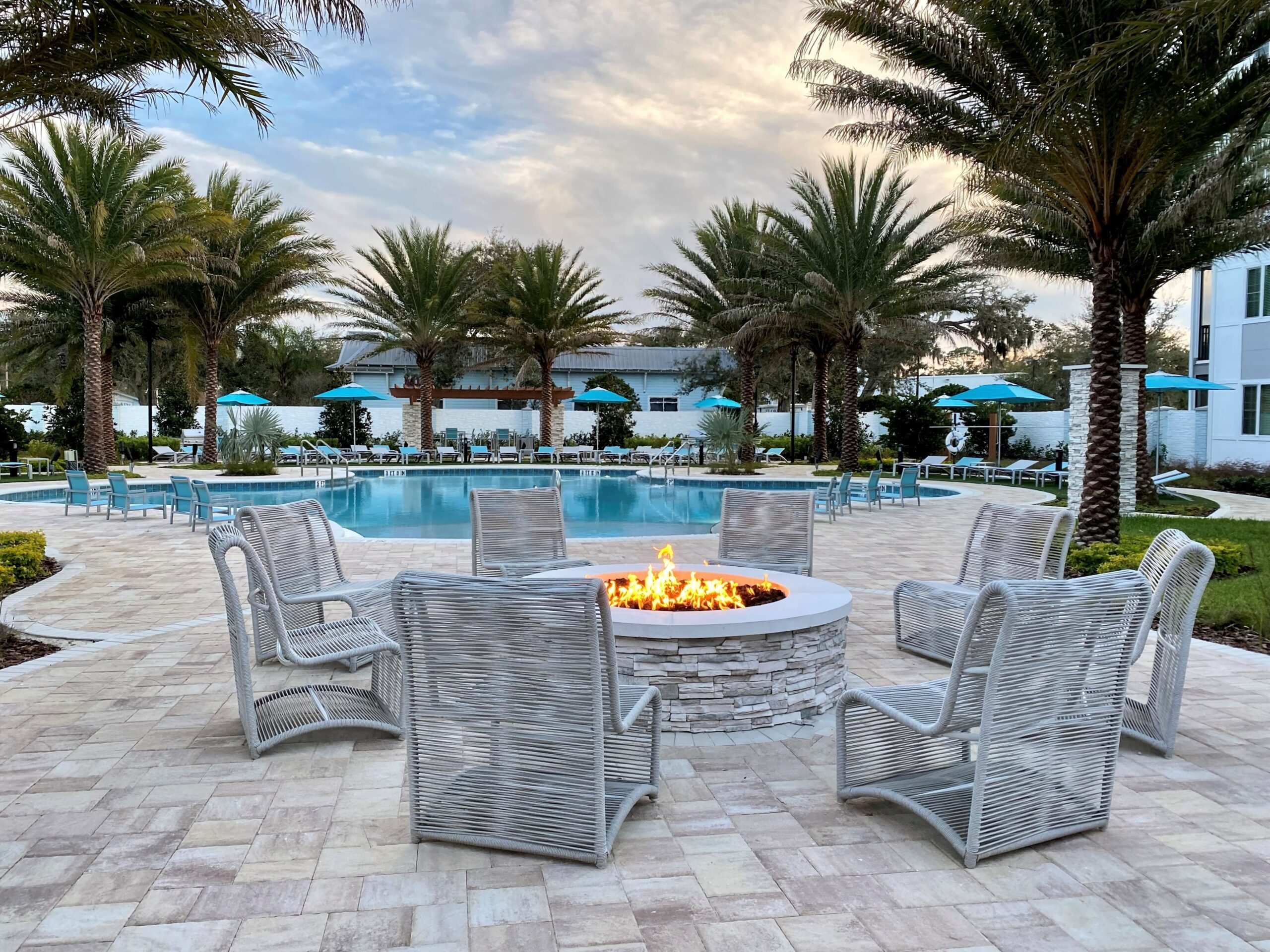The Enclave at 3230 brand new apartments in South Daytona Florida fire pit and pool area