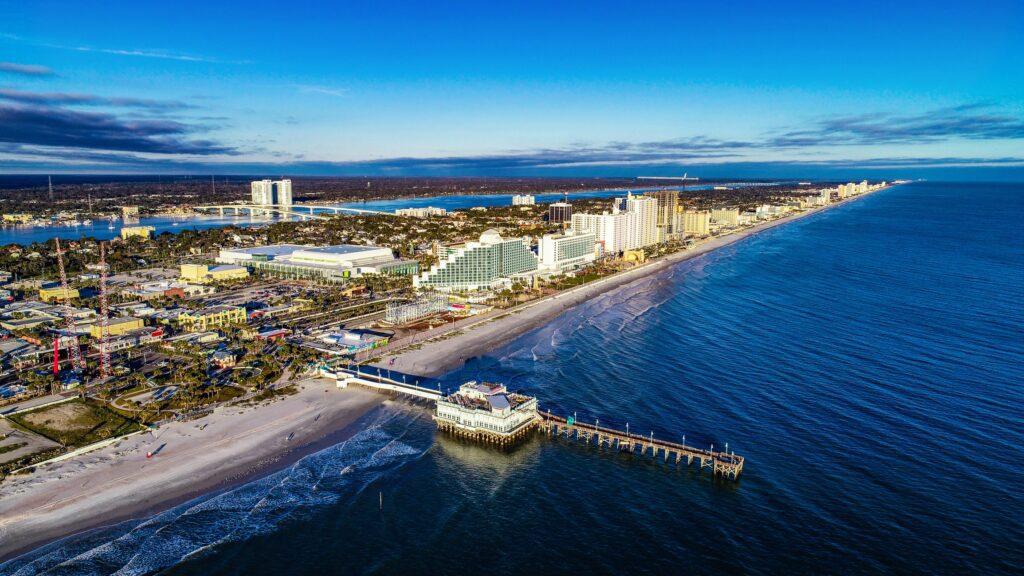 Aerial view of Daytona Beach, South Daytona Apartments, FL