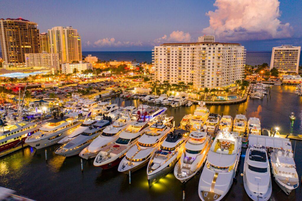 yahts, marina, Condominiums, ocean , lights